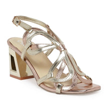 Load image into Gallery viewer, Butterfly inspired metallic strappy sandals in rose and champagne gold featuring our signature trapeze shape block heel in gold metallic tone. Heel: 3 inch high.