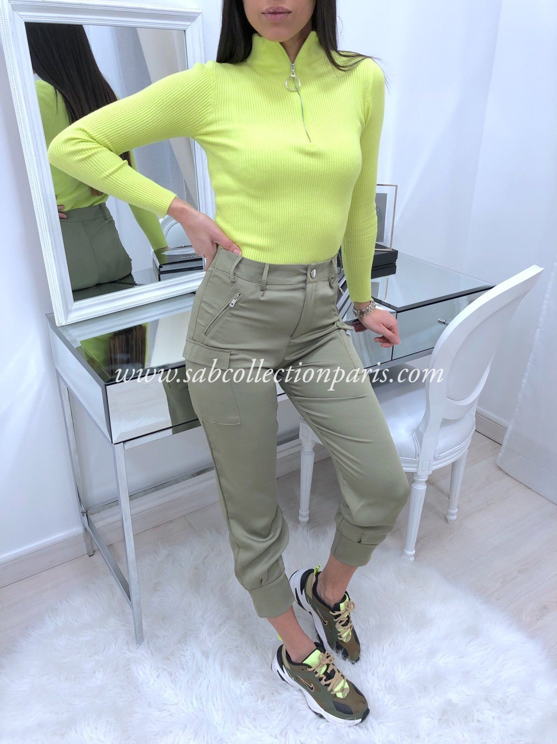 Pantalon Cargo Satin WILLA Kaki
