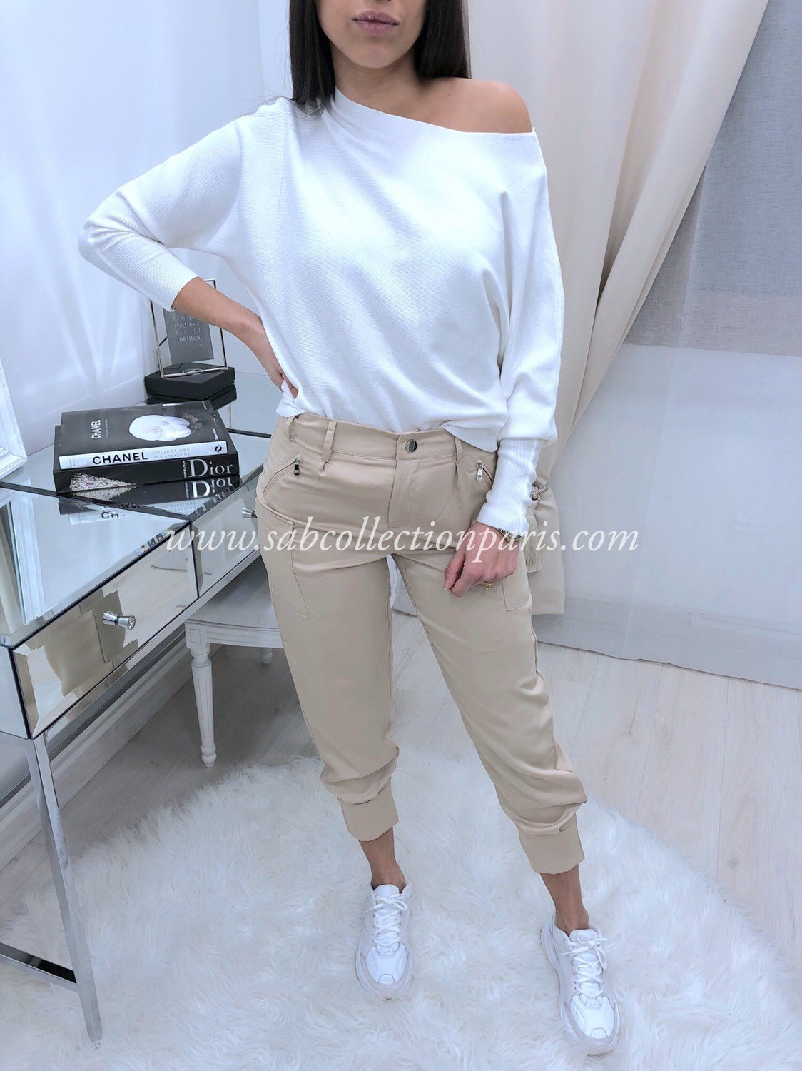 Pantalon Cargo Satin WILLA Beige
