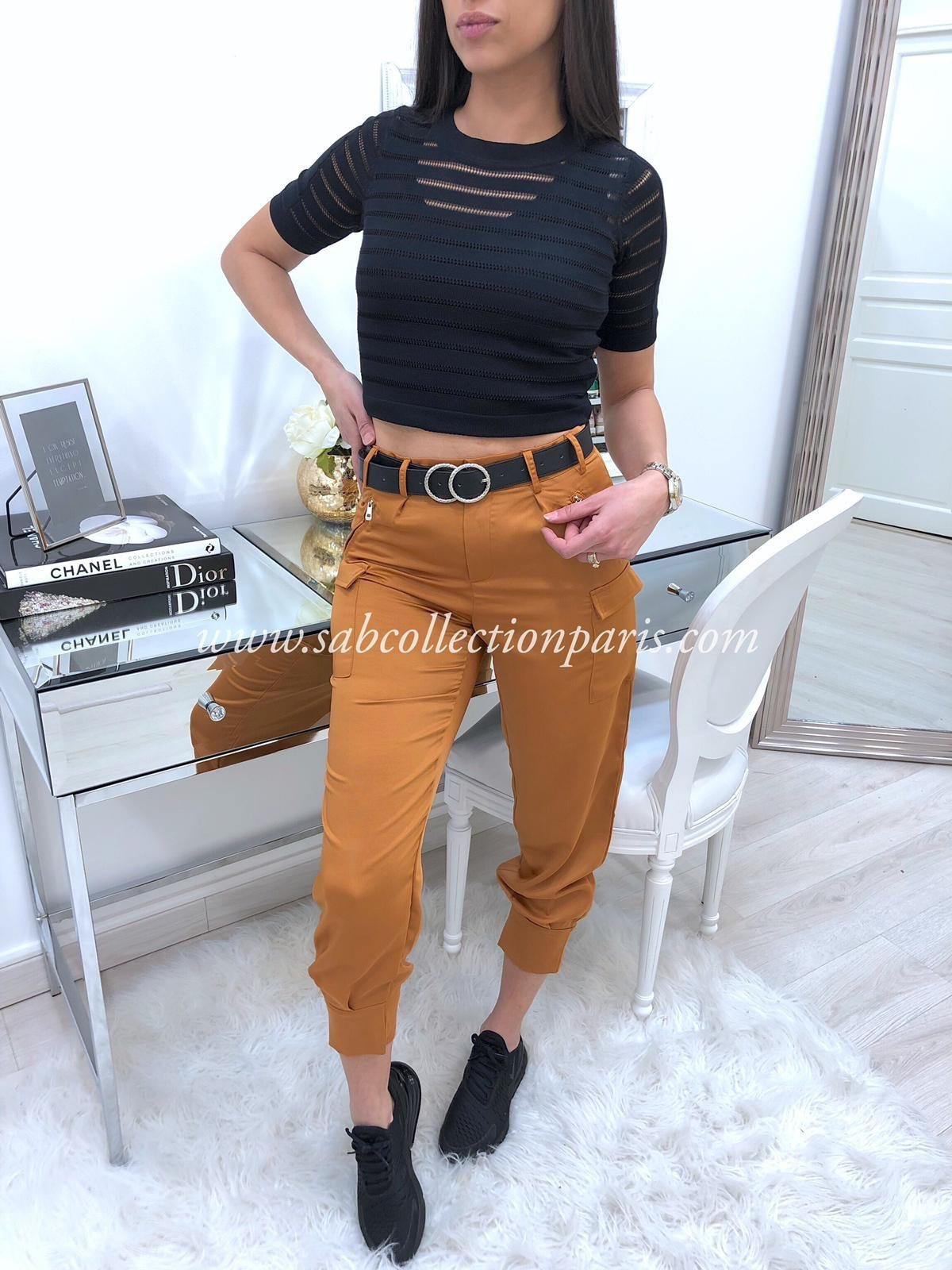 Pantalon Cargo Satin WILLA Caramel