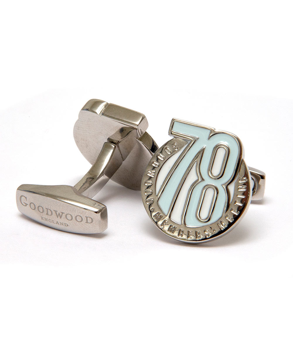 Bar fitting 78mm cufflinks in blue and chrome