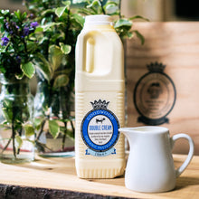 Load image into Gallery viewer, Close up of 1 litre of Goodwood Organic Double Cream from Goodwood Farm Shop.