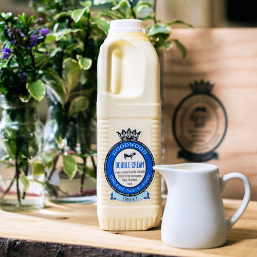Close up of 1 litre of Goodwood Organic Double Cream from Goodwood Farm Shop.