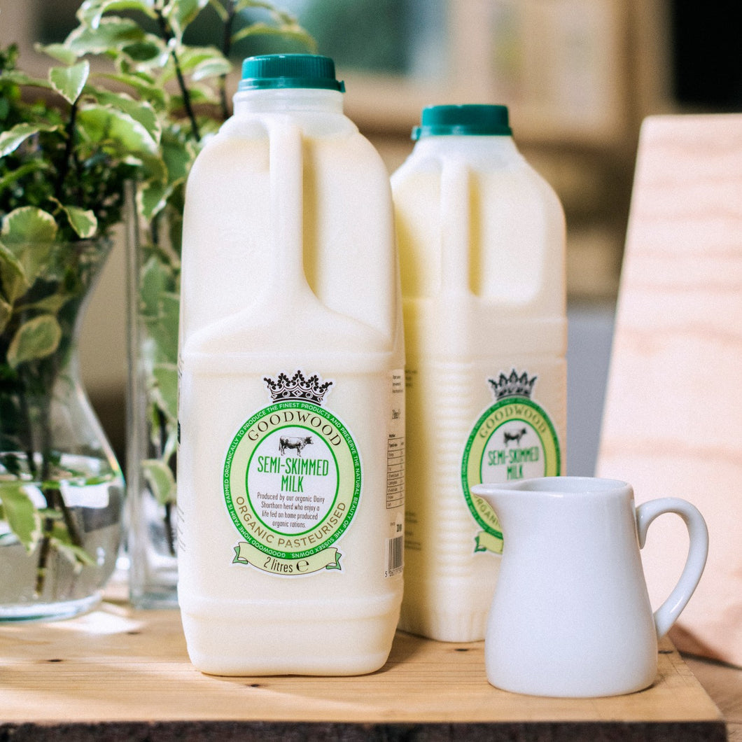 Close up of Goodwood Organic Semi-Skimmed Milk, available in 1 and 2 litre sizes, from Goodwood Farm Shop.