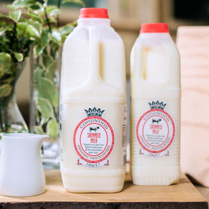 Close up of Goodwood Organic Skimmed Milk, available in 1 and 2 litre sizes, from Goodwood Farm Shop.