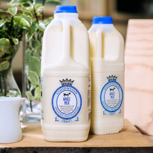 Close up of Goodwood Organic Whole Milk, available in 1 and 2 litre sizes, from Goodwood Farm Shop.