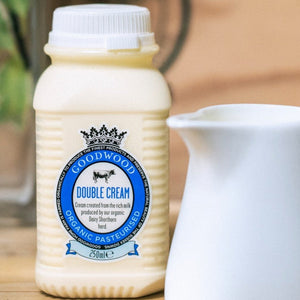 Close up of 250ml of Goodwood Organic Double Cream from Goodwood Farm Shop.