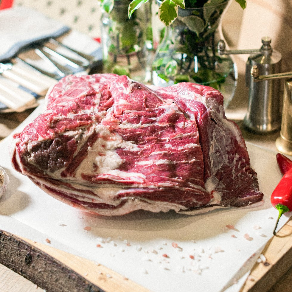 Organic grass-fed shoulder of lamb joint available at the Goodwood Farm Shop.