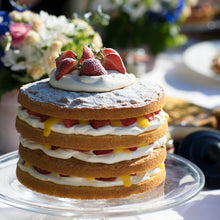 Load image into Gallery viewer, Mary Berry's cricket tea cake recipe used organic milk for the crème patisserie filling.