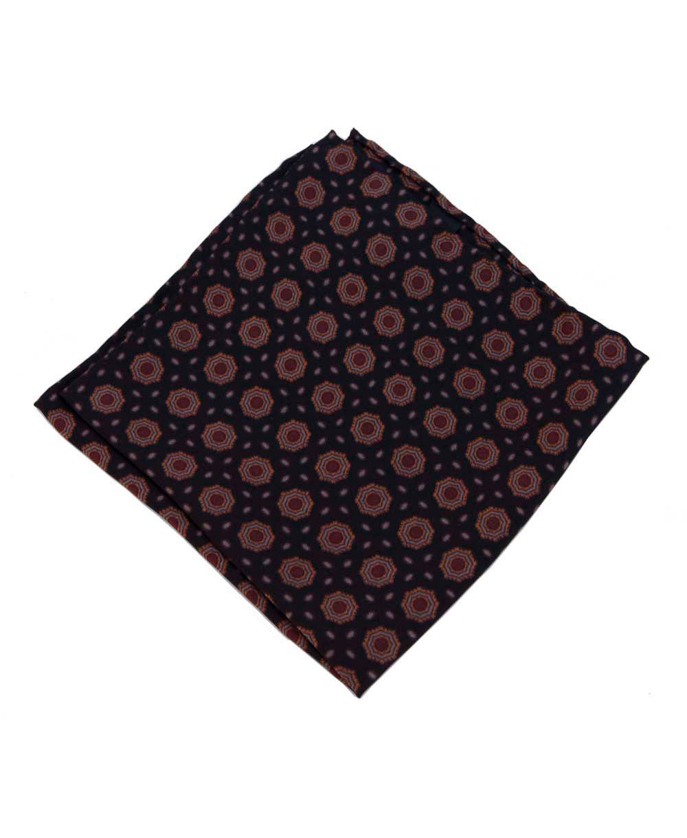 Revival Vintage Silk Pocket Square Black & Burgundy