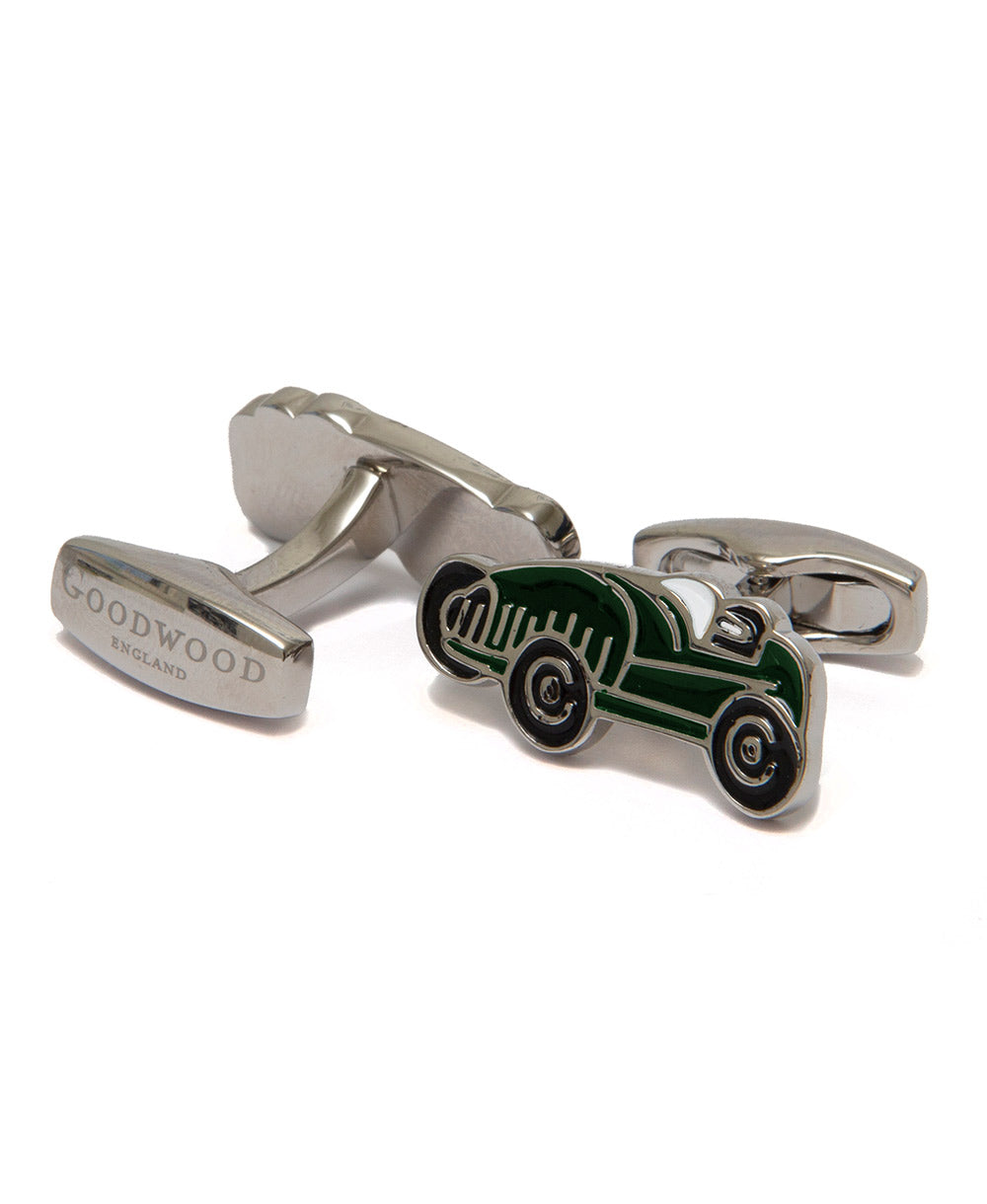 Goodwood Cartoon Car Cufflinks in dark green and black