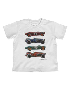Goodwood Cotton Childrens Melange White Cartoon Car T Shirt