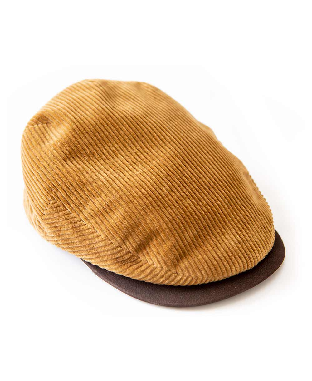 Corduroy Flat Cap with Leather Strap Tan