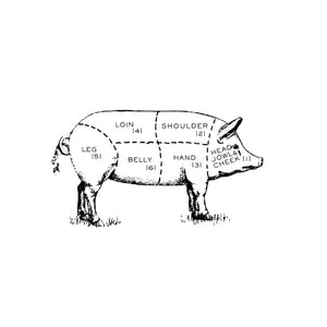 Illustration of different cuts of pork.