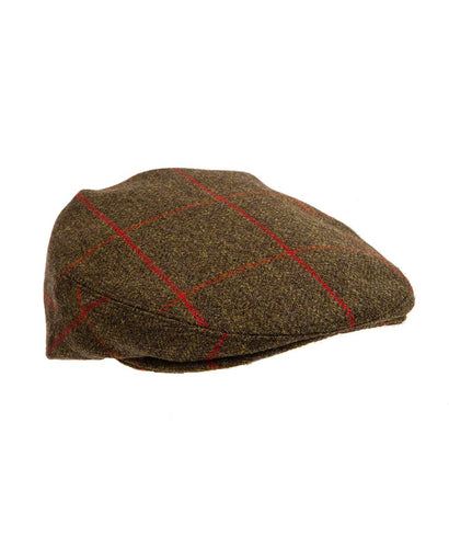 Chequered Flat Cap Brown and Red