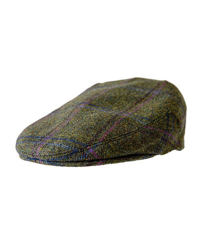 Chequered Flat Cap Green and Pink