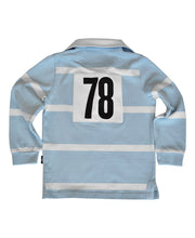 Load image into Gallery viewer, Goodwood 78th Members Meeting Cotton Childrens Blue White Rugby Shirt Back
