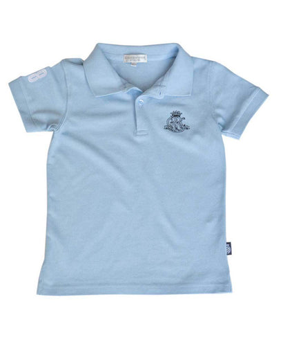 Goodwood 78th Members Meeting Cotton Childrens Light Blue White Polo Shirt