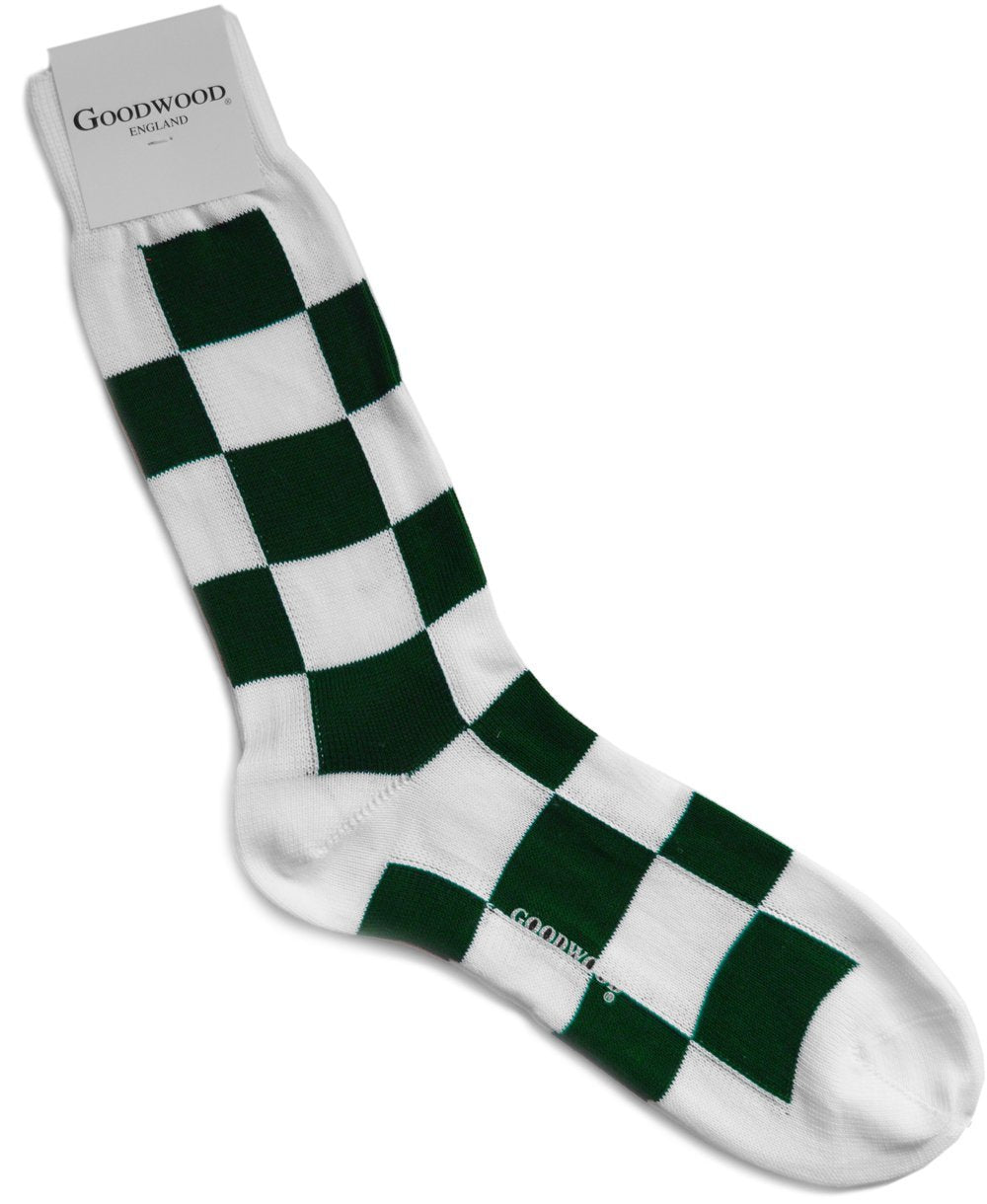 Goodwood Cotton Green White Chequerboard Socks