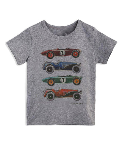 Goodwood Cotton Mens Grey Cartoon Car T Shirt