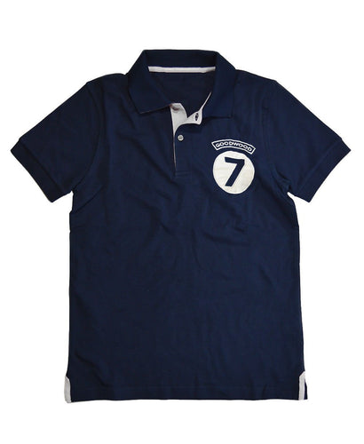Goodwood Cotton Mens Stirling Moss Number 7 Navy Polo Shirt