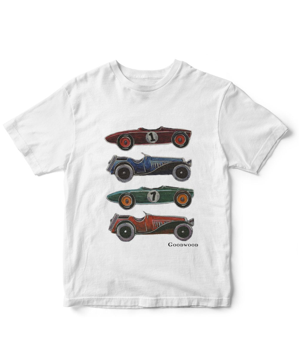 Goodwood Cotton Mens White Cartoon Car T Shirt