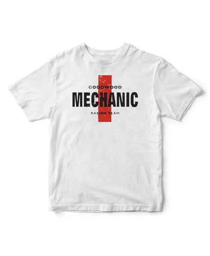 Goodwood Cotton Mens White Mechanic T Shirt