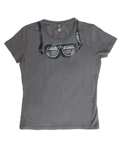 Goodwood Cotton Womens Goggles Grey T Shirt