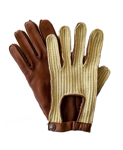 Goodwood Estate Capeskin Crochet Traditional Tan Driving Gloves