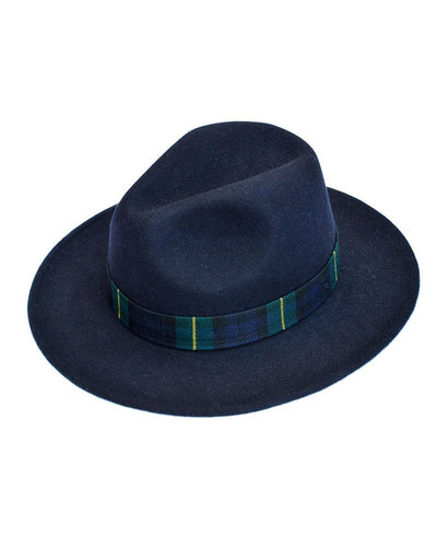 Goodwood Estate Fedora Navy Gordon Tartan Hat