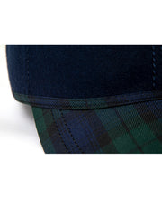Load image into Gallery viewer, Goodwood Estate Navy Gordon Tartan Walking Cap Detail