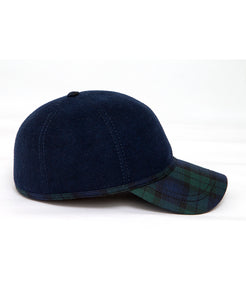 Goodwood Estate Navy Gordon Tartan Walking Cap Side