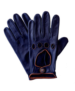 Goodwood Estate Navy Tan Deerskin Traditional Open Knuckle Gloves
