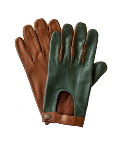 Goodwood Estate Tan Green Capeskin Traditional Driving Gloves