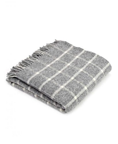 Goodwood Estate Wool Grey Chequerboard Throw Blanket