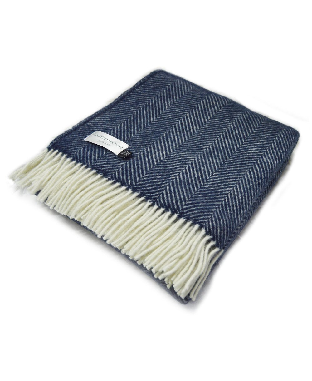 Goodwood Estate Wool Navy Fishbone Throw Blanket