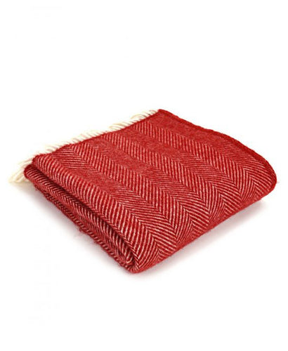 Goodwood Estate Wool Red Fishbone Throw Blanket