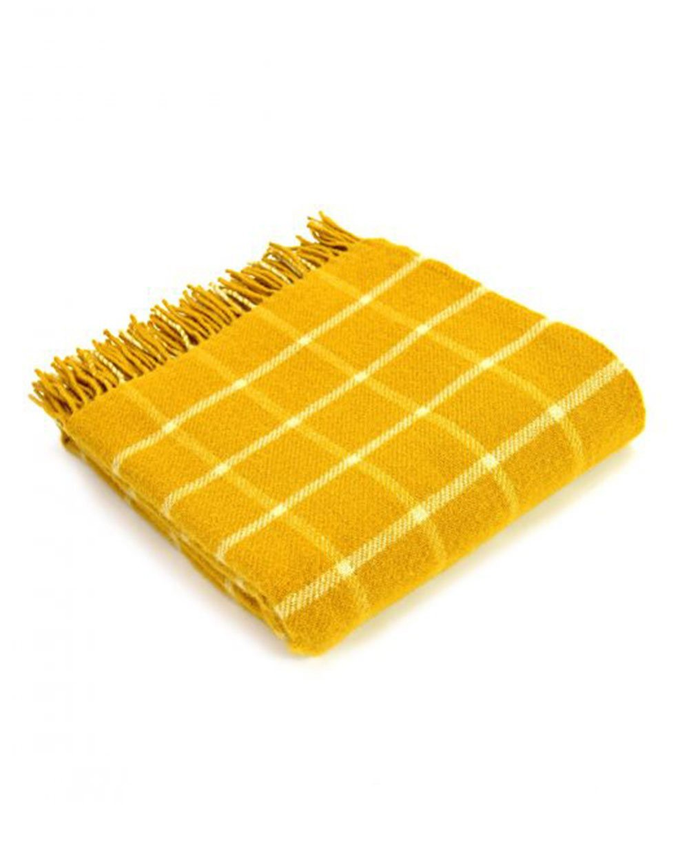 Goodwood Estate Wool Yellow Chequerboard Throw Blanket