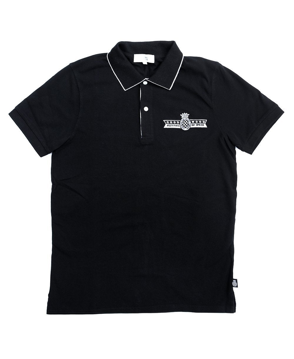 Goodwood Festival Of Speed Cotton Mens Black Polo Shirt