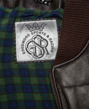 Load image into Gallery viewer, Goodwood Gsr Sports Racing Brown Italian Leather Quilted Gordon Tartan Lined Jacket Detail