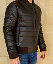 Load image into Gallery viewer, Goodwood Gsr Sports Racing Brown Italian Leather Quilted Gordon Tartan Lined Jacket Model