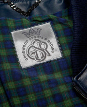 Load image into Gallery viewer, Goodwood Gsr Sports Racing Navy Italian Leather Quilted Gordon Tartan Lined Jacket Detail