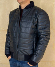 Load image into Gallery viewer, Goodwood Gsr Sports Racing Navy Italian Leather Quilted Gordon Tartan Lined Jacket Model