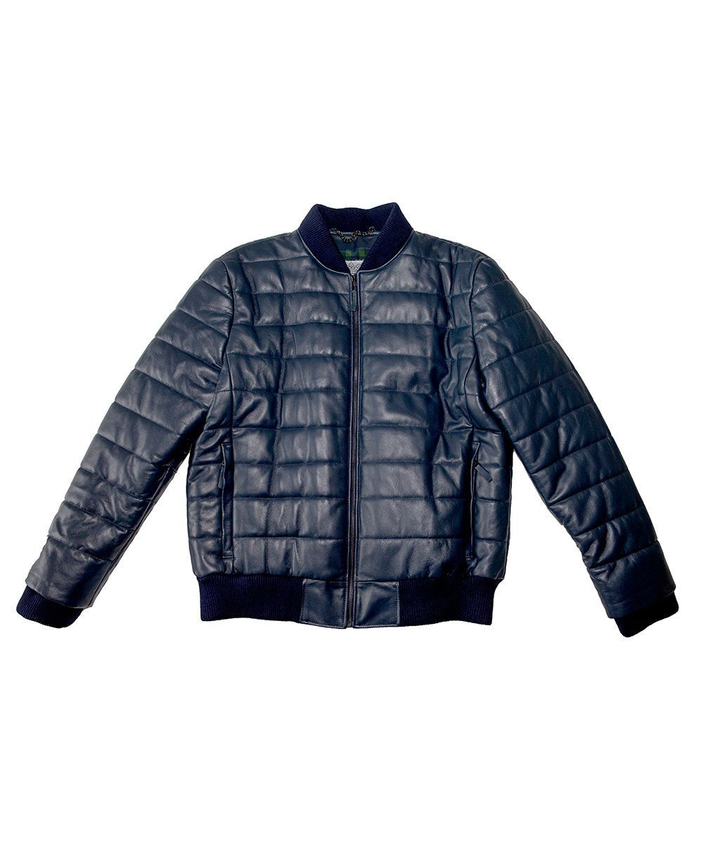 Goodwood Gsr Sports Racing Navy Italian Leather Quilted Gordon Tartan Lined Jacket