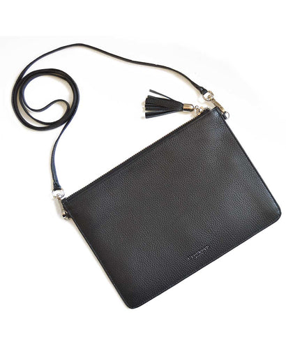 Ladies Goodwood Embossed Leather Shoulder Bag in Black