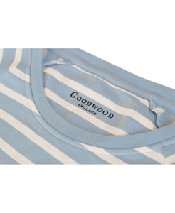 Goodwood Members Meeting Cotton Womens Striped Blue White Sweatshirt Neck