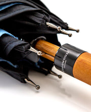 Load image into Gallery viewer, Goodwood Members Meeting Wooden Handled Blue Black Umbrella Handle