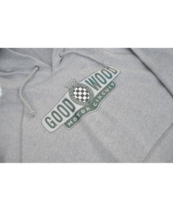 Goodwood Motor Circuit Cotton Grey Melange Unisex Hoody Detail