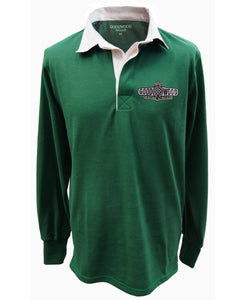 Goodwood Motor Circuit Cotton Mens British Racing Green Rugby Shirt