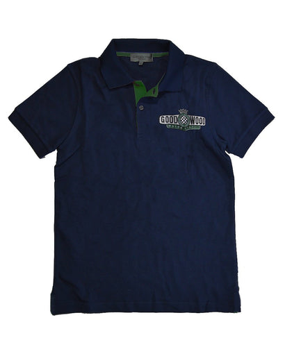 Goodwood Motor Circuit Cotton Mens Navy Green Polo Shirt